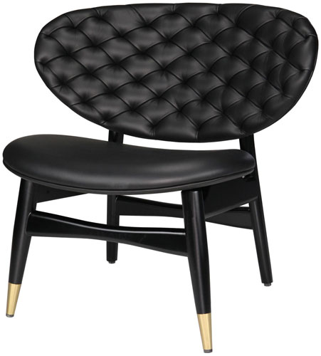 Contemporary black leather chair with tufted back