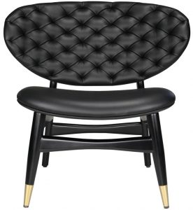 Black Leather Studio Chair with wide tufted back