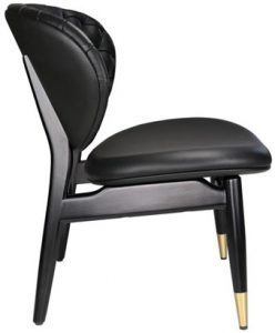 Black leather Studio Chair, side view